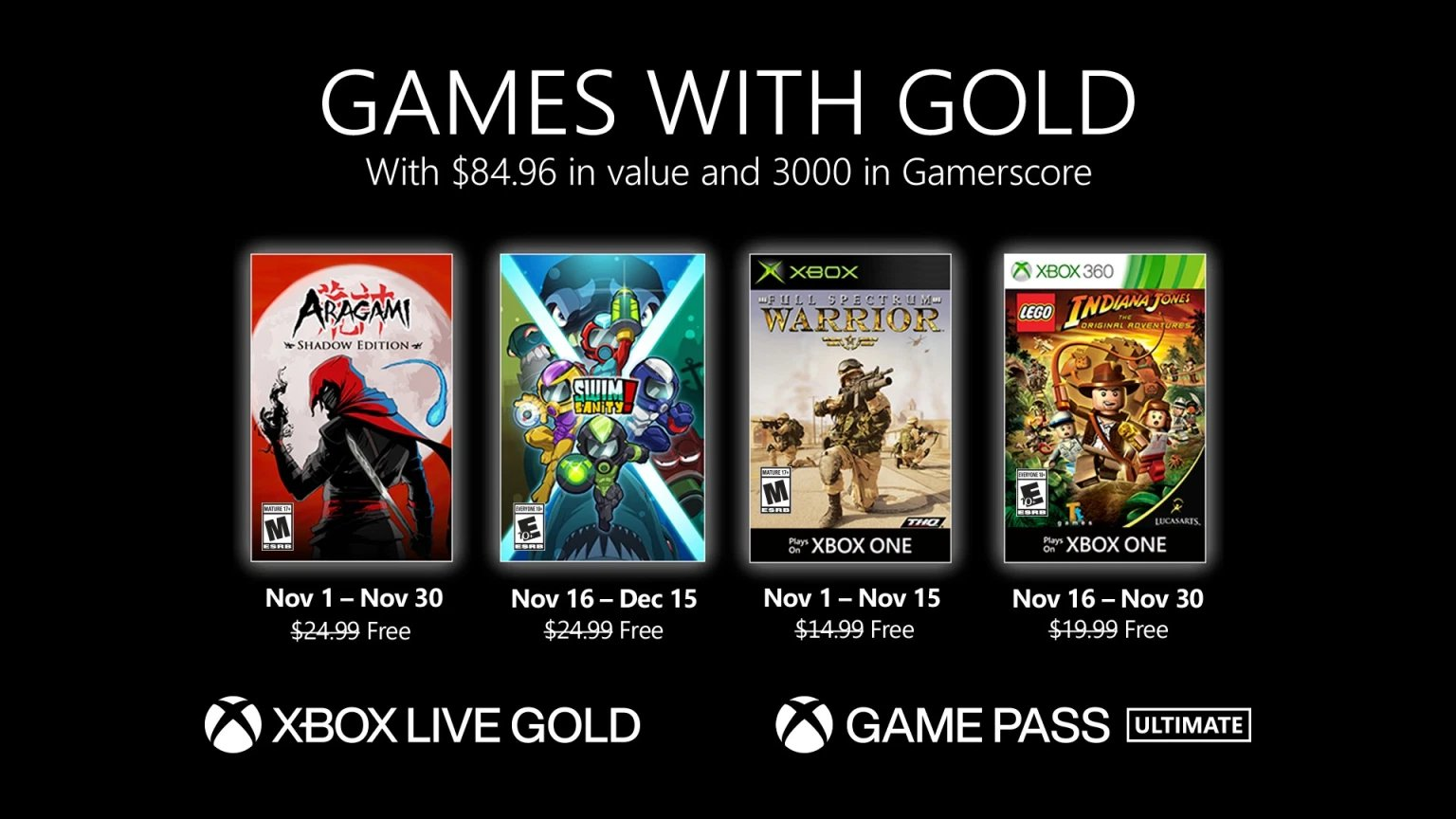 Xbox Live Games with Gold November 2020