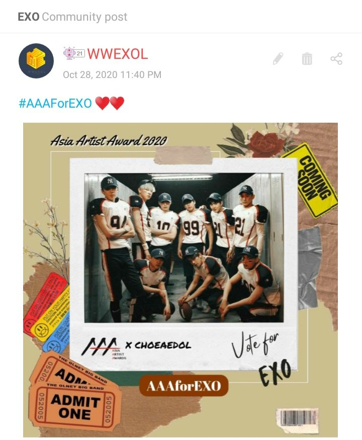 #RT @WWEXOL: [VOTE] EXO-Ls, a new day has started! ✨ We need your pure hearts! Visit us at EXO's Community and give some love 💞  🔗https://t.co/NiQznjF2sp  Let's go for 9th Win today!🤞  All for #EXO  #엑소 @weareoneEXO https://t.co/1FMPjWnZpn
