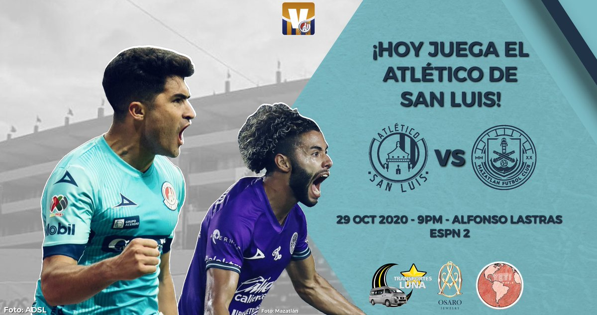 ¡HOY JUEGA EL ATLÉTICO DE SAN LUIS!🇦🇹  🆚 @MazatlanFC  🏆 Liga MX / #Guard1anes2020 ⚽️ Jornada 16 🏟 Estadio Alfonso Lastras ⏱ 21:00hrs 📺 ESPN 2 https://t.co/GoigIw9Kc4