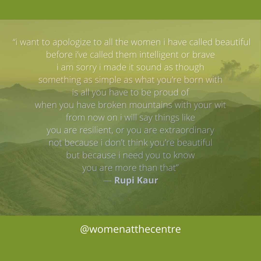 You are beautiful! You are also more than your exterior beauty .  #womenatthecentre  #survivor #socialjustice #advocacy #feminism #feminist #growth #empowering #strength #powerfulwomen #power #fallinlovewithyourself #worthy #WEthursdaythoughts #RupiKaur #poetry  #artexpression https://t.co/U7qzkus3N2