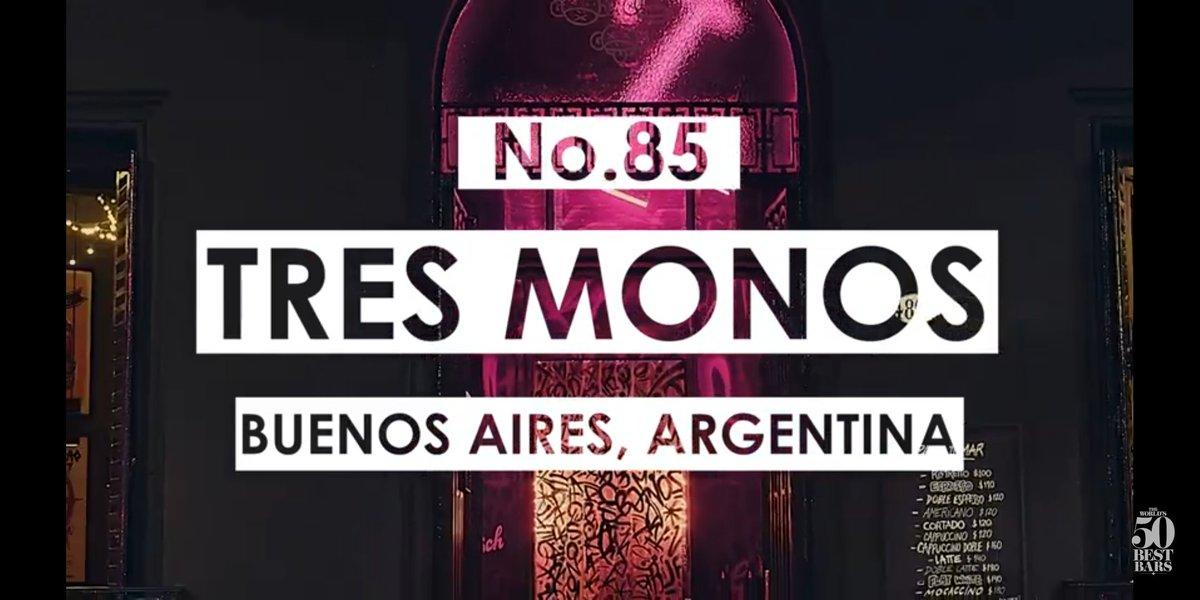 ¡Tres Monos, en el puesto 85 de los mejores bares del mundo! ¡Felicitaciones Seba Atienza! #bar #coctelería #bartender The World's 50 Best Bars 51-100 list 2020, presented in association with Mancino Vermouth! #Worlds50BestBars https://t.co/6S083INKnP https://t.co/1qvUQAzTIk