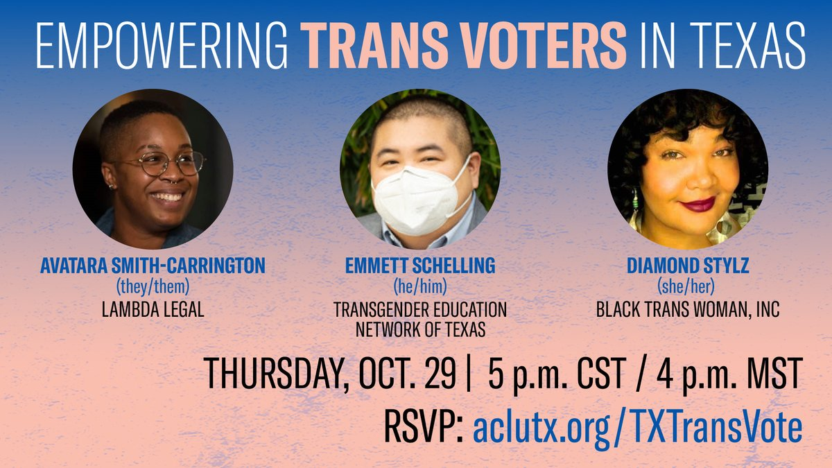 Yall dont want miss our panel today at 5pm CST/ 4pm MST🤩with @DiamondStylz of @BlackTranswomen, @asian_emmett of @TransTexas, and @AvataraSmithC of @LambdaLegal! Register to join 🏳️⚧️ aclutx.org/TXTransVote