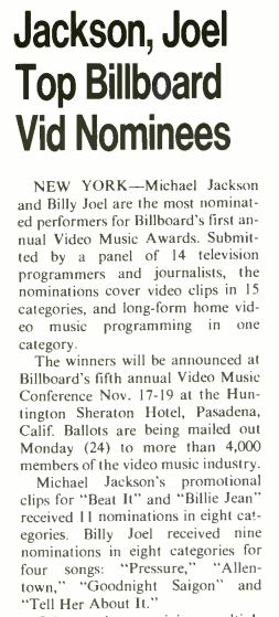 This crazy new thing called the @vmas!  What is @MTV doing?  From @billboard Oct 29th, 1983.  #VMAs #MTV #MichaelJackson @billyjoel #BillyJoel #movis #MusicVideo #80s #80smusic #VideoMusicAwards https://t.co/AGrZjei01X