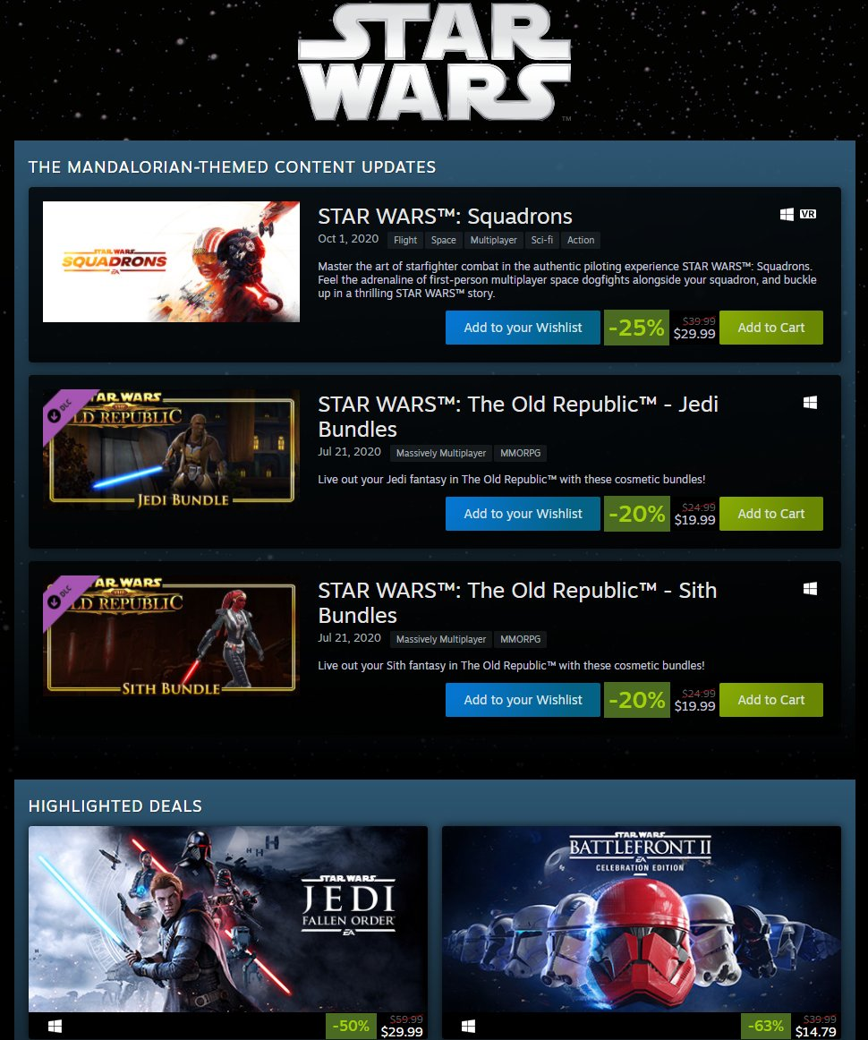 Star Wars sale on Steam 2