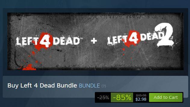 (PCDD) Left 4 Dead Bundle $2.98 via Steam. 2
