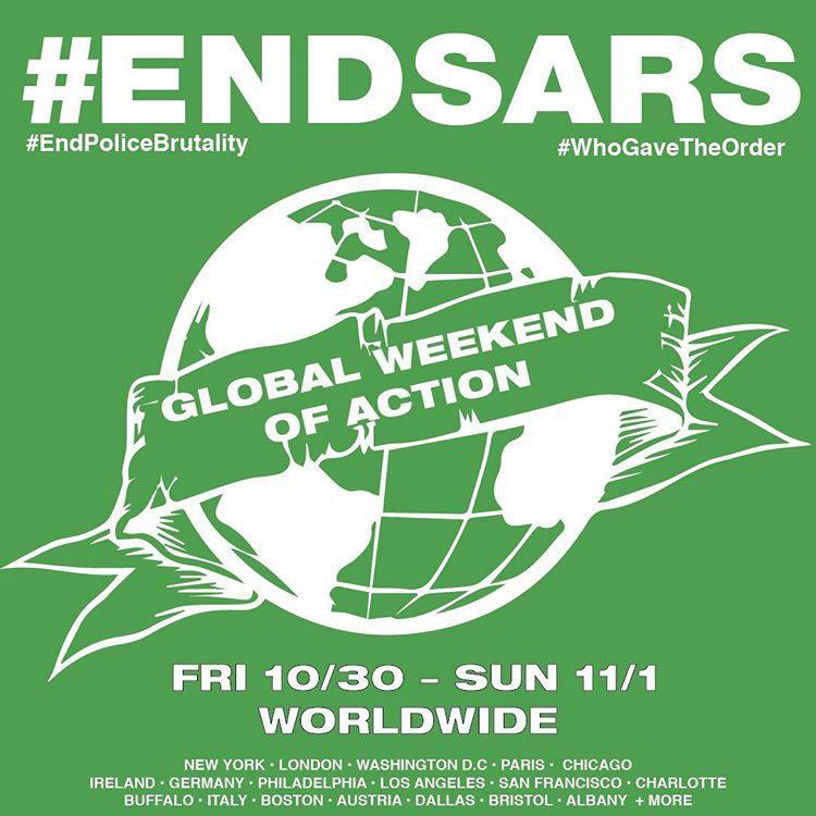 Nigerians in the Diaspora have organised a  march across the globe this weekend. Cities across the world are marching/protesting and locked down cities are holding online protests to help keep the #endsars hashtag trending. https://t.co/NO5vQXzSGJ