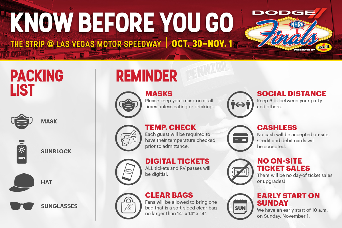 Know Before You Go to the Dodge @NHRA Finals presented by Pennzoil! Things will be a little different at the track than when you were here last. Below are some things to be prepared for this weekend. #NHRAFinals