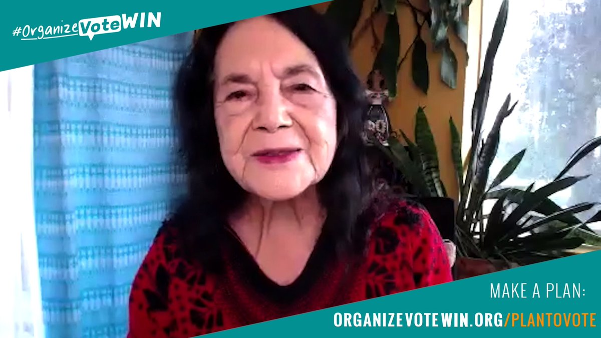 Image for the Tweet beginning: Listen to @DoloresHuerta, GO VOTE!