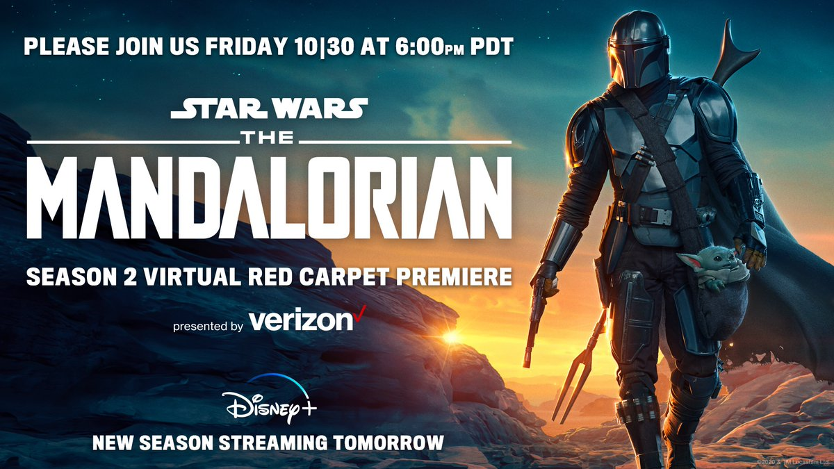 Tune-in tomorrow for a virtual red carpet premiere of #TheMandalorian, presented by @Verizon. Watch it here or on https://t.co/D4x7qJis04 tomorrow at 6:00pm PDT. https://t.co/fZXnY30D1j