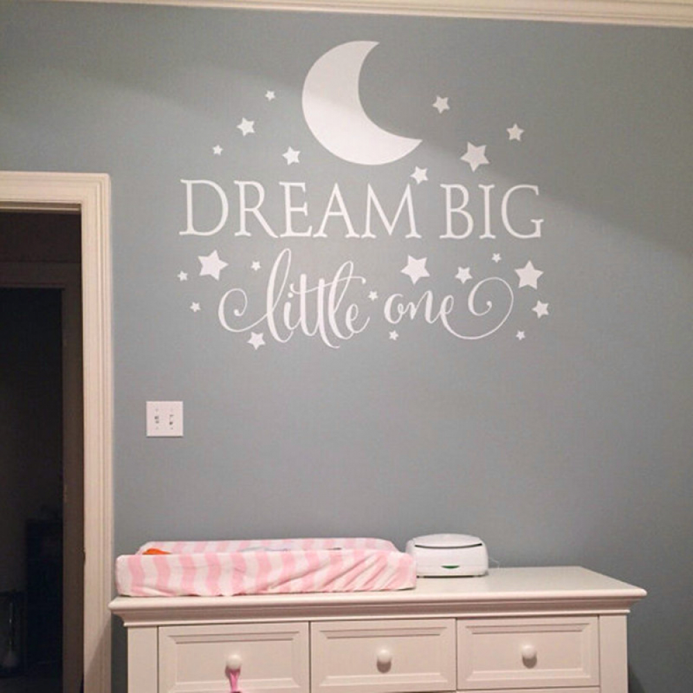 """Dream Big Little One"" Kidsrooms Wall Sticker  $ 20.00 & FREE Shipping   #love #wallsticker #interior4all #house #inredning #vintage #streetoutfit #techaccs https://t.co/9TAeIUO9Wm https://t.co/TaKcgs418n"
