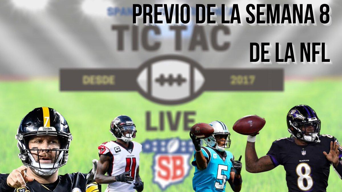 Recuerden que hoy es noche (tarde) de #TicTacLive en punto de las:  22:00 🇪🇸  18:00 🇦🇷  15:00 🇲🇽   🖥 https://t.co/lUH6jtMXM9  @EduVall82  @DTerronRobles  @SantiLuduenia  @imaisterrena   Con la previa del juego de hoy y lo MEJOR de la semana 8 de la #NFL   #NFLTwitter #nflmx https://t.co/nPIMgD0PSb