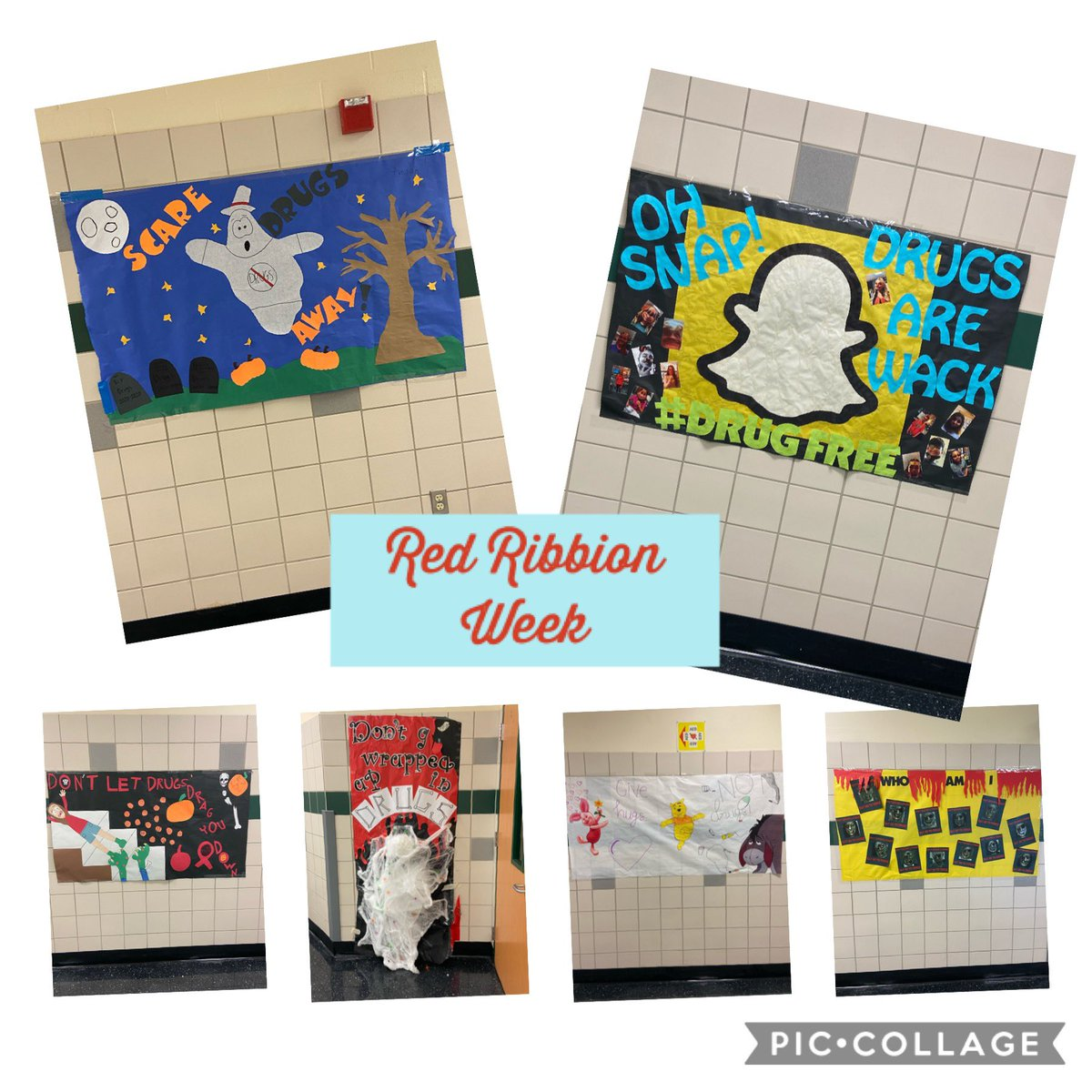 Love seeing all the banners in the hall for Red Ribbon Week! #RRW2020 @PISDReynolds