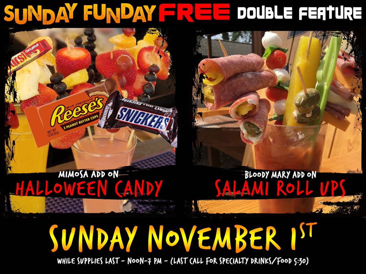 This #SundayFunday we're featuring Salami Roll ups on our bloody marys & Halloween Candy on the mimosas FOR FREE! We're inside, with the games on! We open at noon and go til 7 PM (last call food/bloody marys 5:30) Plus delicious pulled pork features & Coors Light Buckets for $12 https://t.co/wU0xS1Veuq