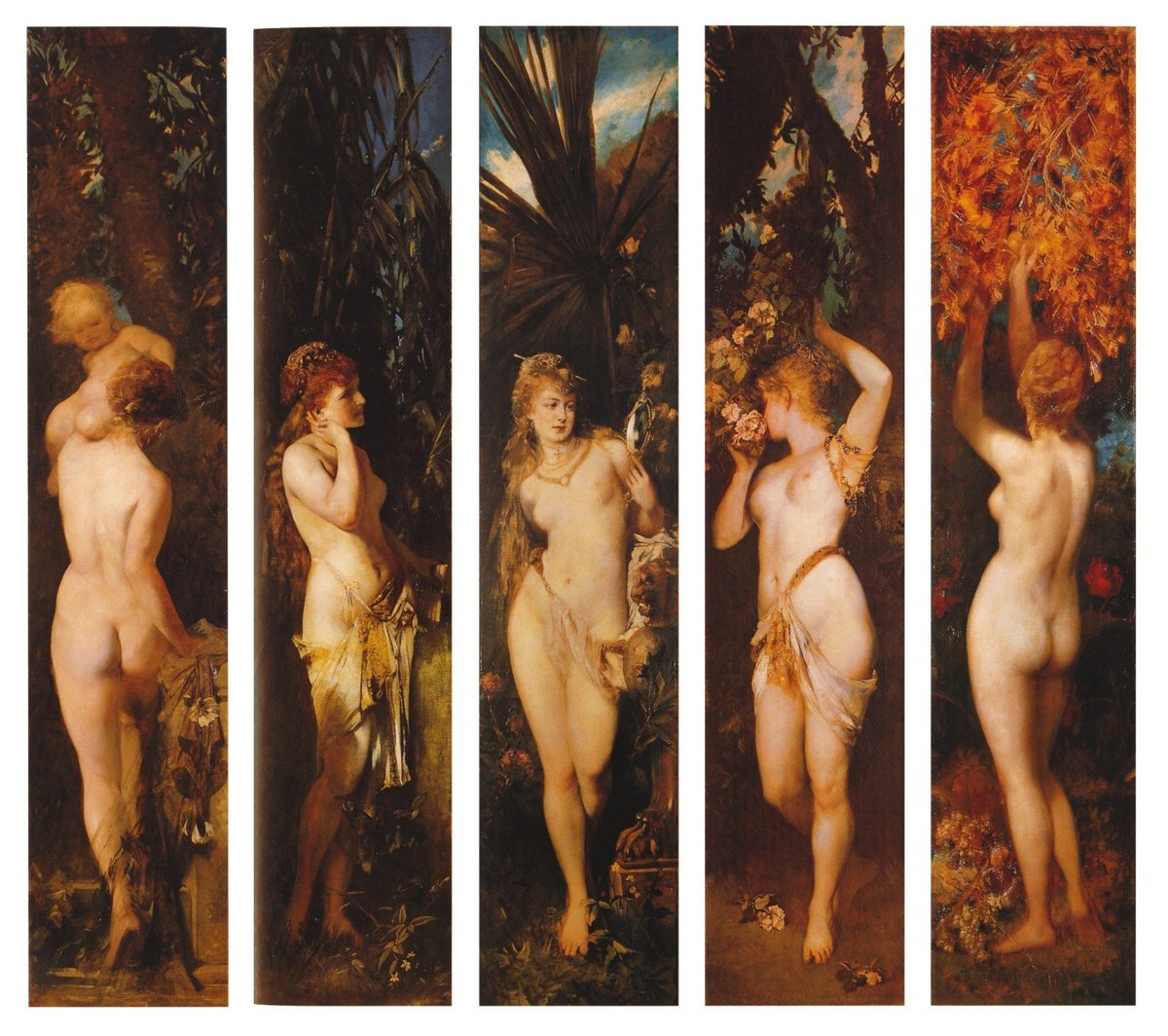"""""""The five senses"""" Hans Makart (28 May 1840 – 3 October 1884) was a 19th-century Austrian academic history painter, designer, and decorator."""