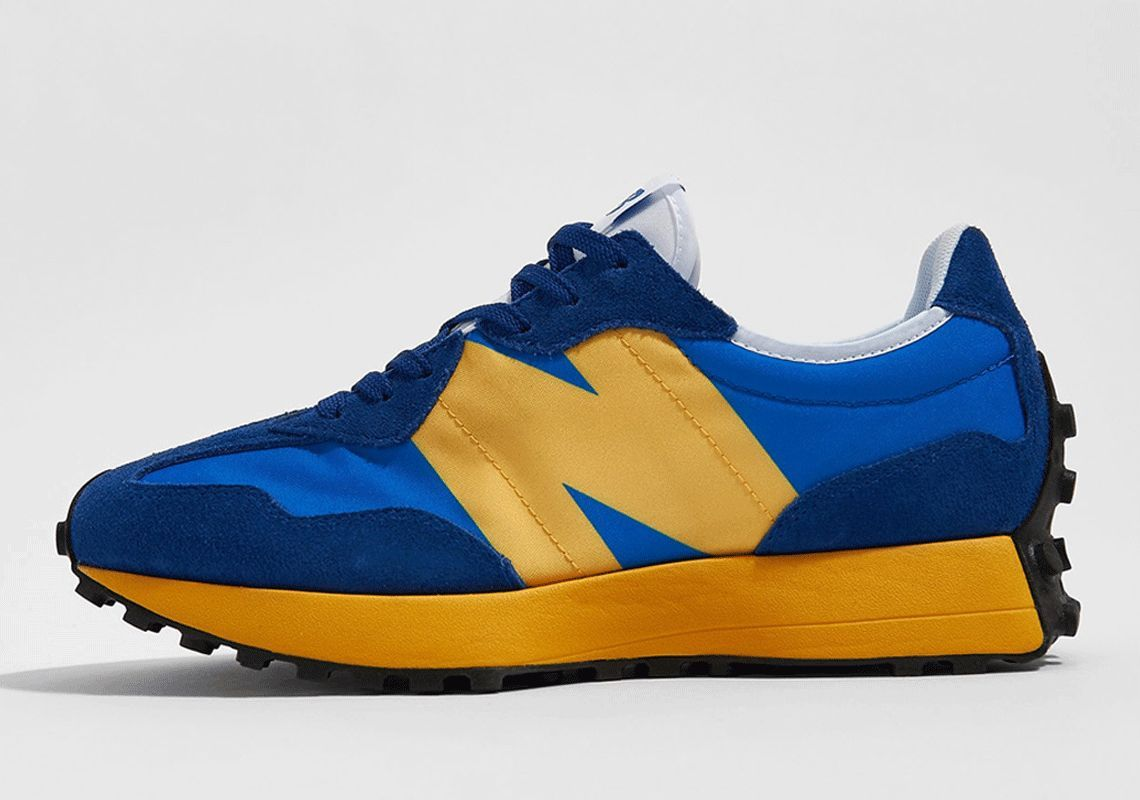 Ad: ICYMI: The New Balance 327 'Blue/Yellow' is back in stock at Foot Locker!