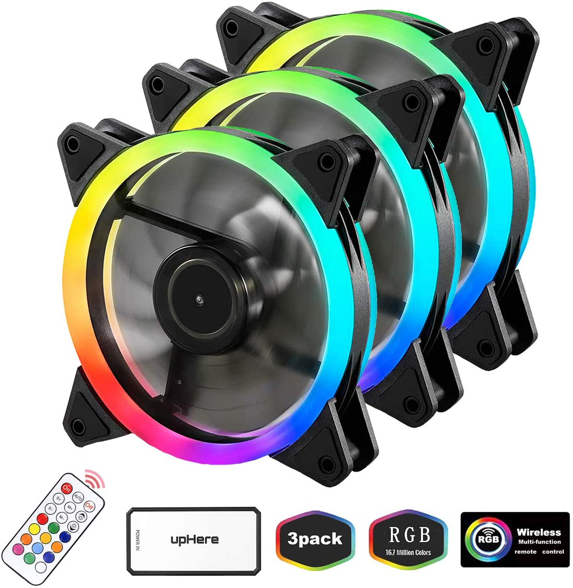 upHere 3-Pack Wireless RGB LED 120mm Case Fan  Only $23.99!