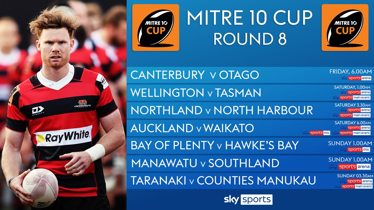 test Twitter Media - It's round 8⃣ in the #mitre10cup and getting the weekend underway it's @crfu v @OtagoRugbyTeam from 6am tomorrow on @SkySports Arena. https://t.co/ULip2Aa3JD
