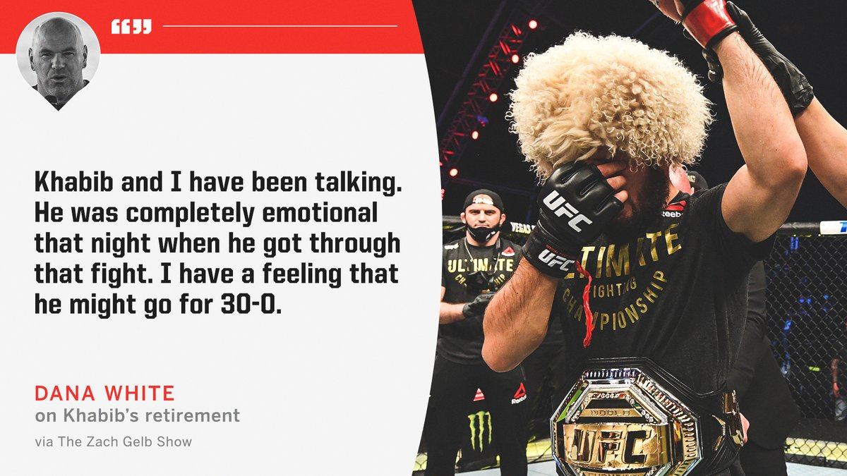 Dana White believes Khabib may come back for one more fight. https://t.co/2S2MtFzjDN