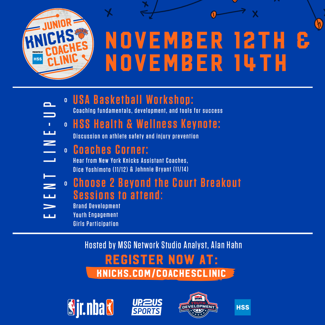 Calling all Coaches and Basketball Orgs‼️ Join the Junior Knicks Coaches Education Clinic presented by  @HSpecialSurgery   Don't wait‼️Sign up now for this educational and engaging virtual workshop‼️  https://t.co/ShzQINWFaD  @nyknicks @jrnba @usabasketball https://t.co/CxJSUKbH1Q