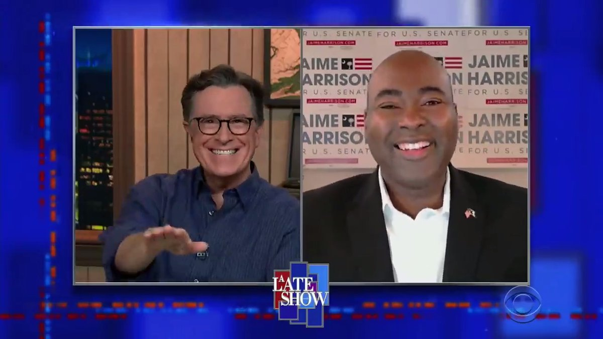 .@LindseyGrahamSC has changed. The people of South Carolina deserve a senator who will work on their behalf, not in his own self-interest. Thanks to South Carolinas own @StephenAtHome for having me on the @colbertlateshow last night!