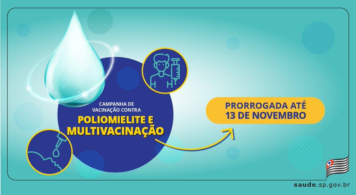 ❗️Fique atento ❗️ Campanha de #vacinação contra #poliomielite e multivacinação é prorrogada até 13 de novembro.  A medida visa aumentar as coberturas vacinais contra cerca de 20 doenças. Vá até um posto de saúde.    Saiba mais: https://t.co/LSW4idzOPA https://t.co/zl5ugjl7Rm