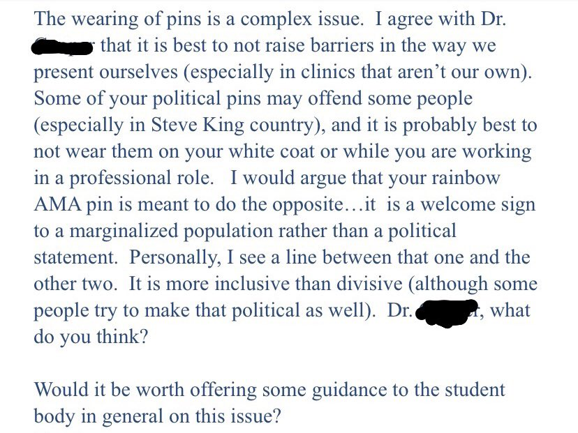 """In 2018, a patient filed a complaint w/ my medical school because I wore a BLM pin on my white coat. For the past 5mo, every time the college sends out an email encouraging """"inclusivity & diversity,"""" or a tweet w/ the words Black Lives Matter, I think about this response:"""