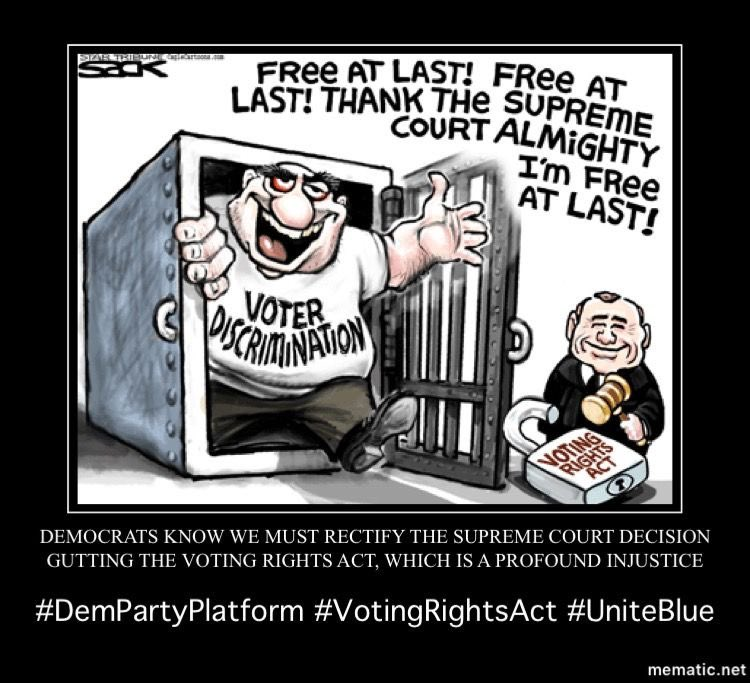 #Democrats will make it a priority to pass legislation that restores and strengthens the Voting Rights Act, and ensure the Department of Justice challenges state laws that make it harder for Americans to vote.8/13  #DemPartyPlatform  #VotingRights