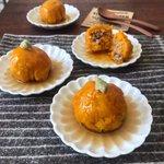 【かぼちゃのひき肉包みあん】のレンジで簡単な作り方!ハロウィンに大活躍!