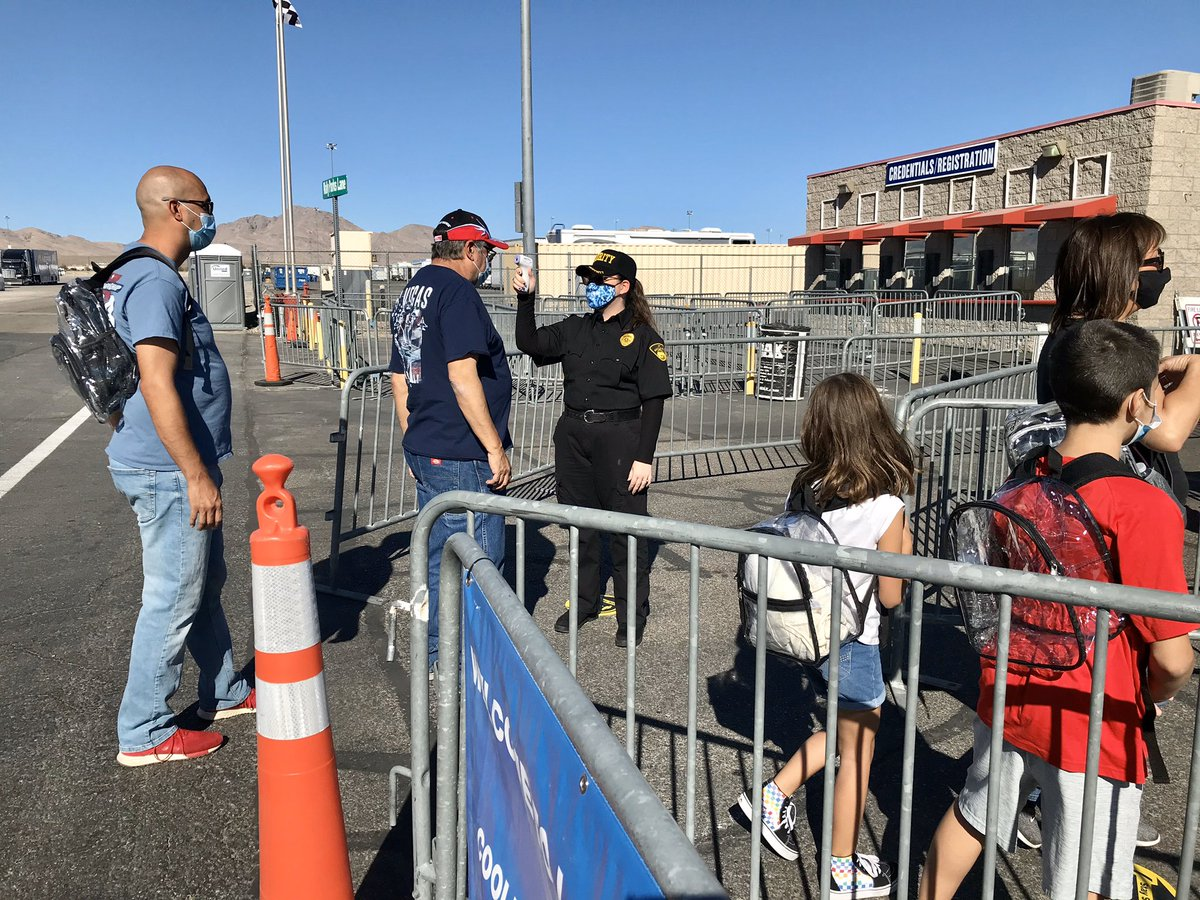 This weekend, @LVMotorSpeedway will host 1st major pro sports event in Nevada WITH FANS since COVID-19 gathering restrictions were implemented in March. Today, Speedway invited 2 families attending @NHRA Dodge Finals to experience safety protocols in place. Story at 5 on @News3LV
