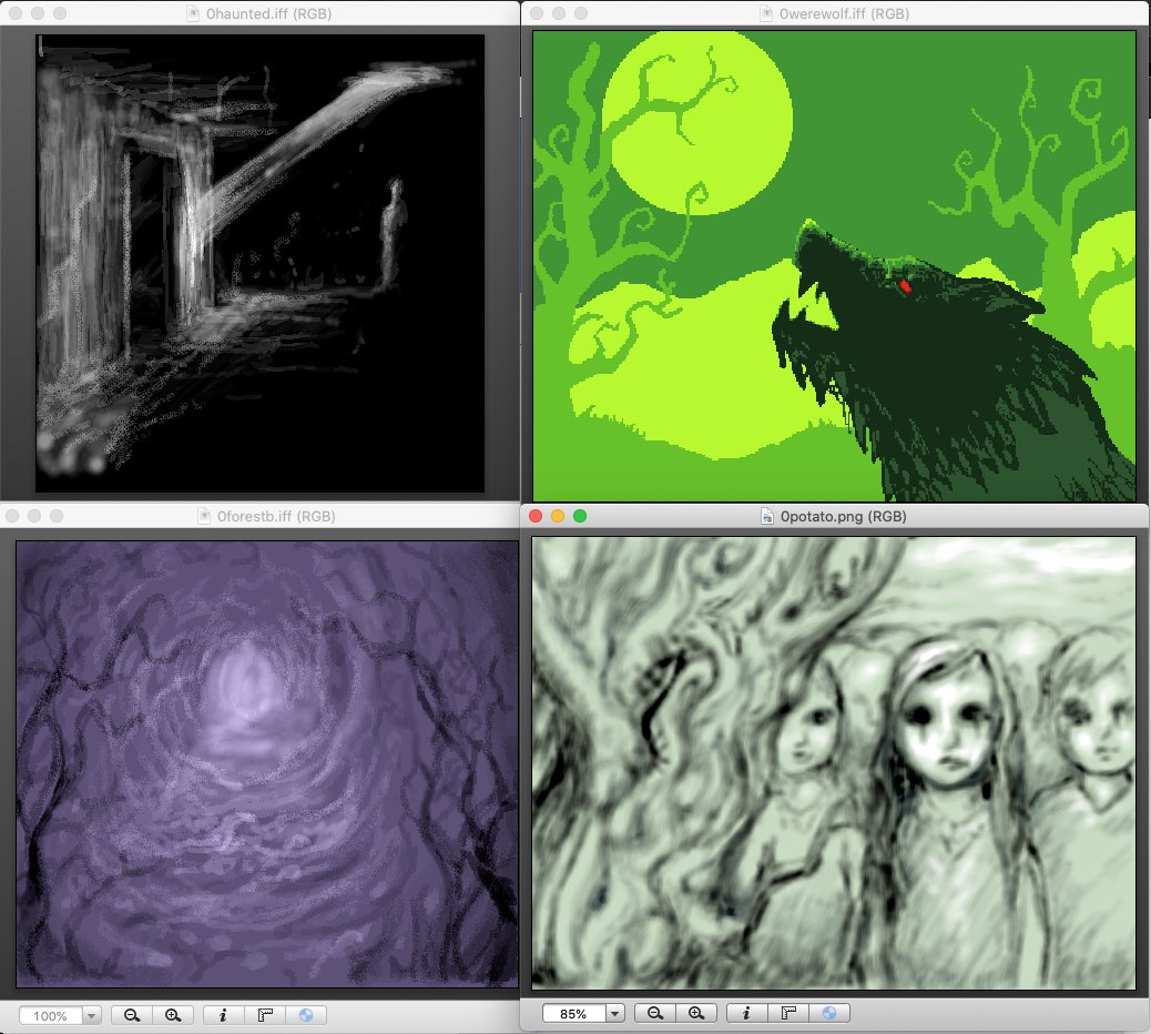 test Twitter Media - That was a fun #amiga art stream, drew some spooky pics to fill gaps in my prompt lists.. Haunted, Werewolf, Spooky Woods and Scary Kids. 👻 (ArtEffect, PPaint, ArtEffect, Photogenics) Thanks so much to @invent71 who popped in and taught me a ton about Brilliance, too! 🙂 https://t.co/rKnUIbl5uA