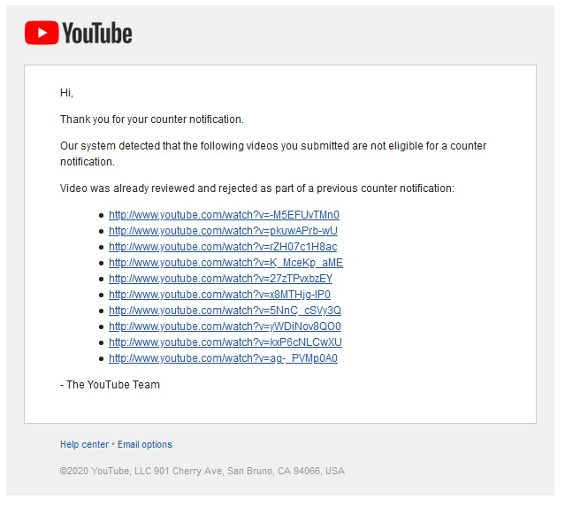 Musty Sky - Hey @TeamYouTube I got my youtube channel terminated about 3 months and I tired to submit counter notification multiple times but I can't get a human review and keep receiving this automated message. The strikes are fake so if could please help send my strike forward.