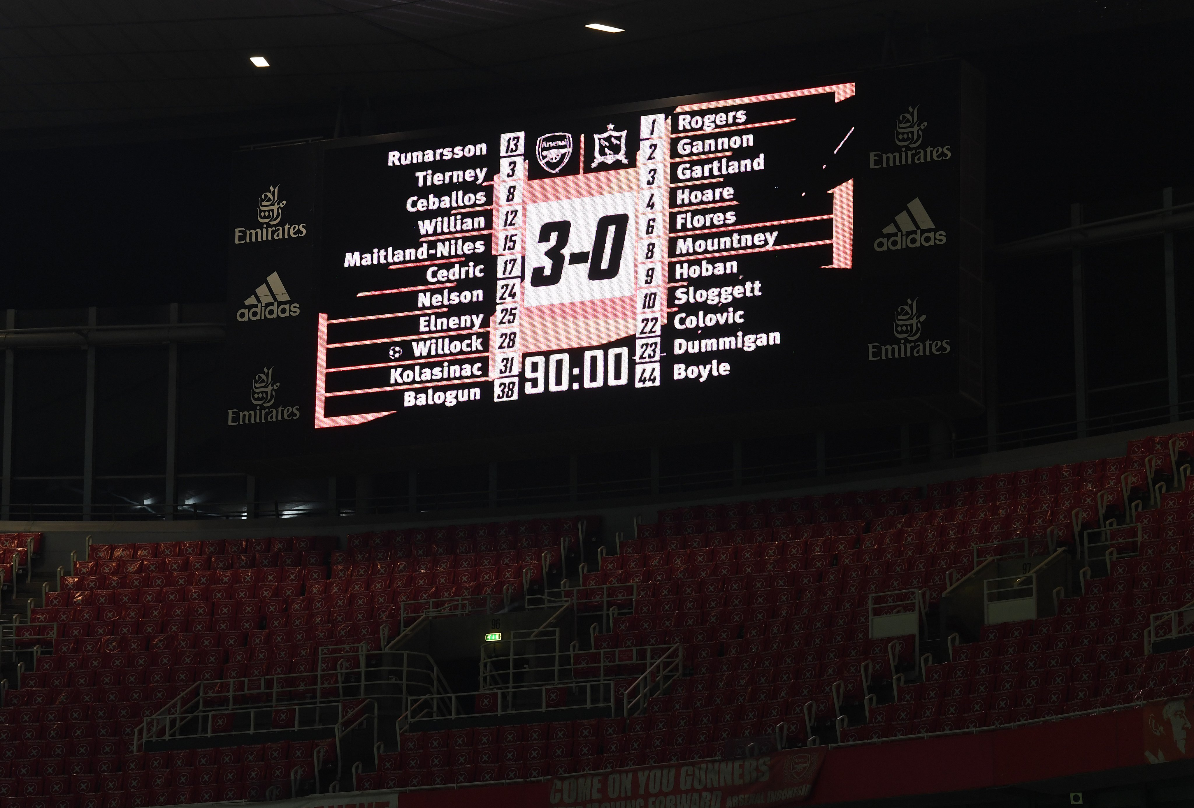 A picture of the scoreboard at Emirates Stadium at full-time of our 3-0 win over Dundalk