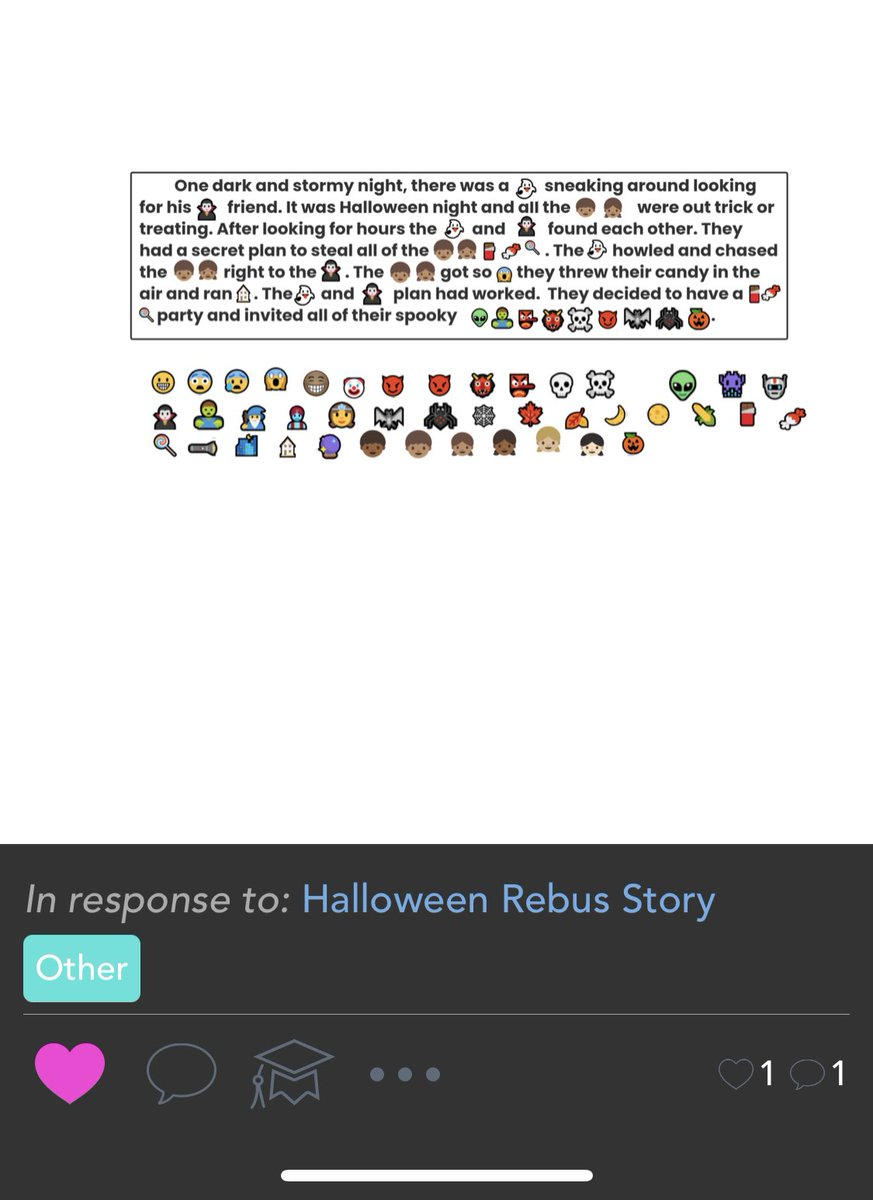 Rebus stories are my new favorite activity! My third graders loved writing a spooky Halloween story! Thanks to @Seesaw community for the great idea! #WeR1NR @SPESinNRCSD https://t.co/9dZX1WnFB3