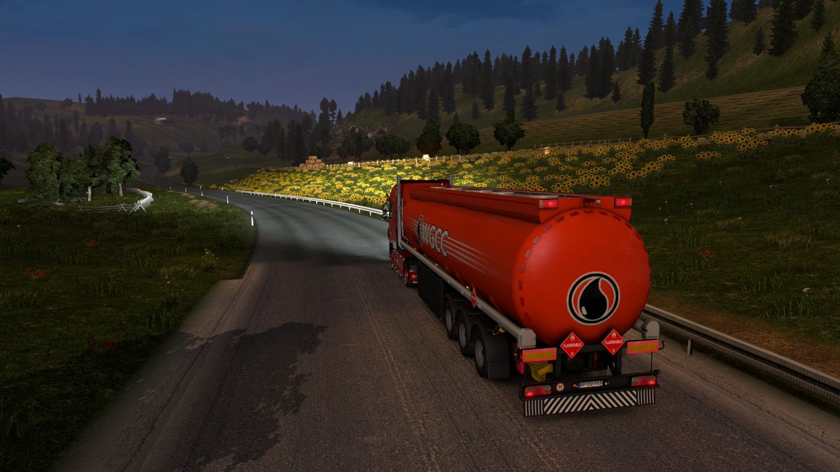 Good afternoon! Selamat sore! नमस्कार! こんにちは! Доброе утро!  Orange truck transporting fuel tank trailer from...