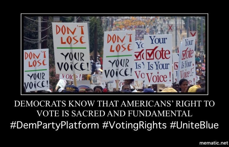 """#Democrats are committed to the sacred principle of """"one person, one vote""""—and we will fight to achieve that principle for every citizen, regardless of race, income, disability status, geography, or English language proficiency. 5/13  #DemPartyPlatform  #VotingRights"""