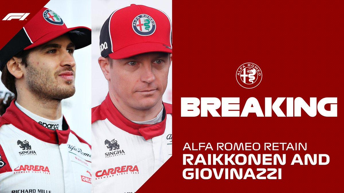 BREAKING: Kimi Raikkonen and Antonio Giovinazzi will stay with @alfaromeoracing in 2021  #F1 https://t.co/hc39pDRGcD