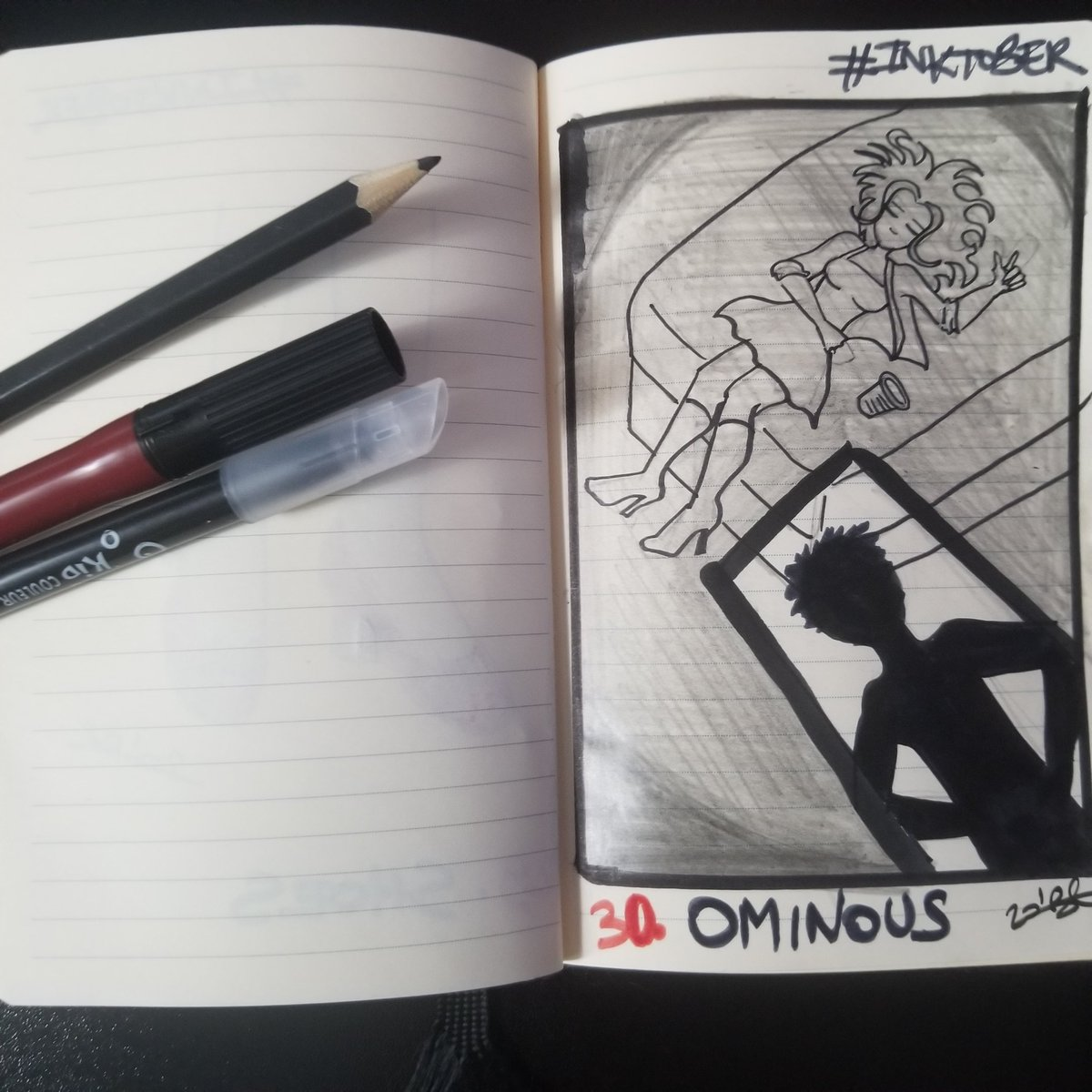 Jour 30 #ominous #demauvaiseaugure #danger #predateur #inktober2020 #inktober #inktoberfish #inktoberfish2020 #noiretblanc #blackandwhite  #doodle #ink #drawing #fineliner #sketch #inksketch #pen #pensketch  #penart #sketching #illustration  #inking #inkwork #axelleb34 https://t.co/xYMyo9cUFI