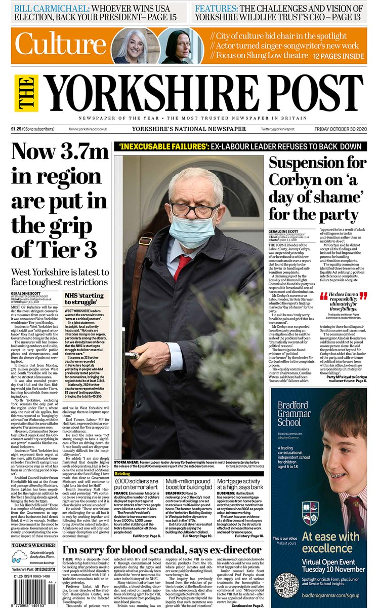 Morning all, here is todays edition of The Yorkshire Post complete with 26-pages of news, opinion, business and sport, plus a brilliant 12-page Culture supplement. #Yorkshire #buyapaper #ProtectProperJournalism 👉 yorkshirepost.co.uk/subscriptions