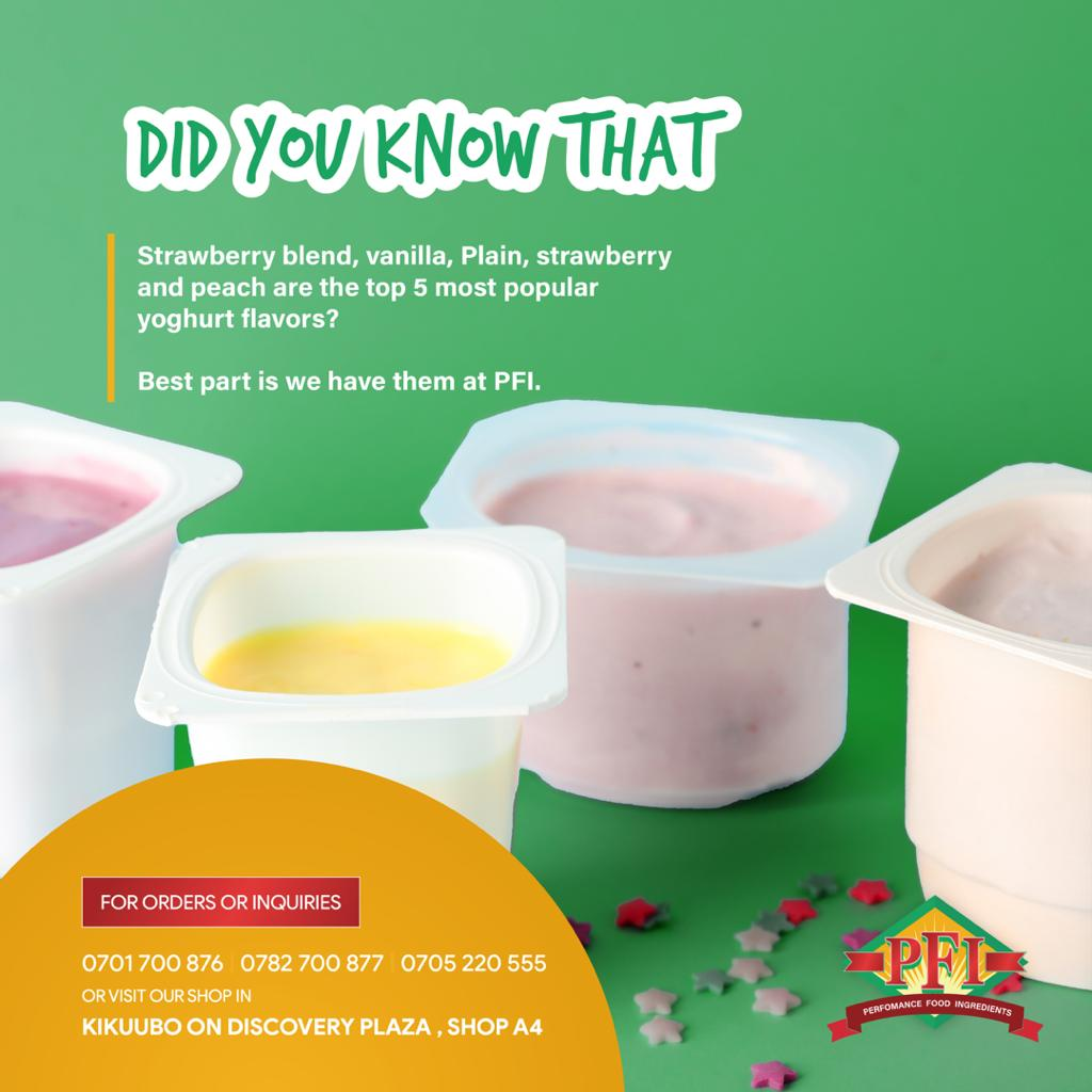 Did you know that strawberry blend, vanilla, plain, strawberry and peach are the top 5 most popular yoghurt flavours? Best part is we have them at PFI. We offer a range of options for yoghurt ingredients.  #fridayvibes  #saturdayvibes #weekendvibes #sundayfunday #food #yoghurt https://t.co/g68Oq1ylzh