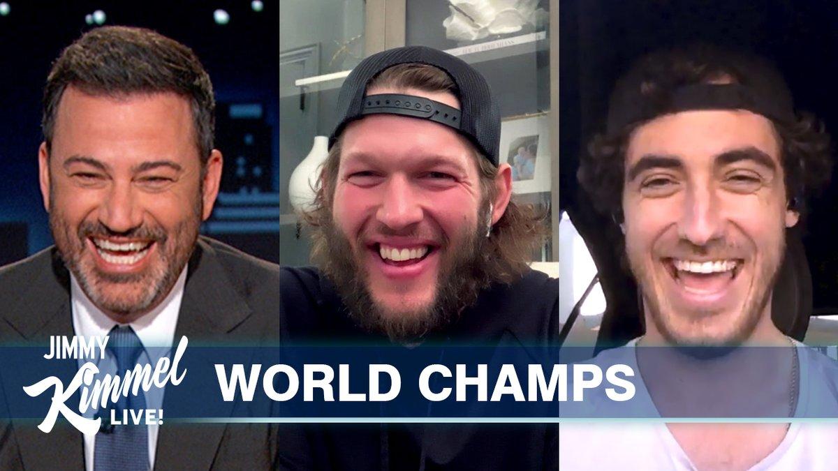 Replying to @JimmyKimmelLive: .@ClaytonKersh22 & @Cody_Bellinger on their #WorldSeries WIN! 🎉 @Dodgers