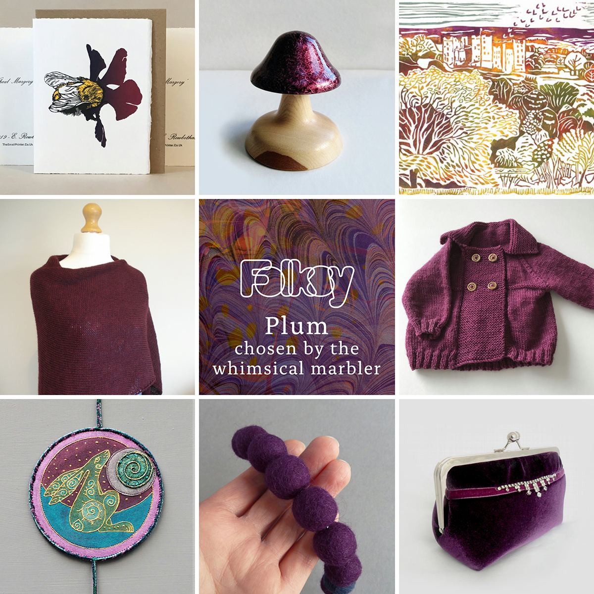 Today our #FolksyFriday has been chosen by our featured maker, Jess from The Whimsical Marbler, and its a delectable selection in shades of plum. Find them all in our favourites on Folksy - folksy.com/folksy-favouri…