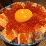 「炙り漬けサーモンとイクラの玉子かけご飯」究極のごちそう!