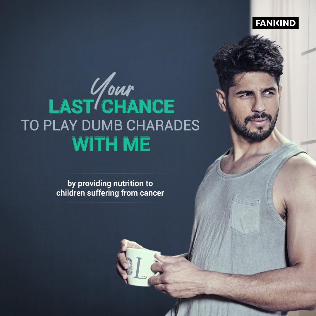YOU, Me & a game of dumb charades!  Sounds exciting because I totally am!  Pssst...I have my list of movies ready as well!   Log onto  & contribute towards  @Cuddles4cancer who provide food & nutrition to underprivileged kids batting cancer.