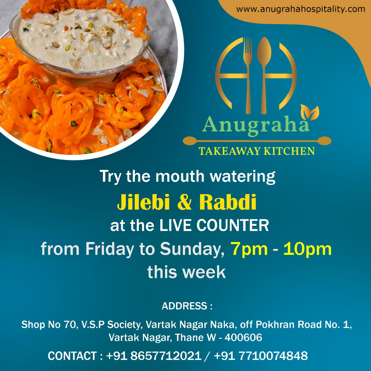 Enjoy the mouth watering garam garm crisp JILEBI & sweet delicious RABDI at our LIVE COUNTER from Friday to Sunday, 7pm - 10pm  Hurry up !!!! Visit our Kitchen  #restaurant #food #foodie #cheese #jilebi #Rabdi #sweet #instafood #dinner  #delicious  #AnugrahaTakeawayKitchen https://t.co/a6oifoF0LQ