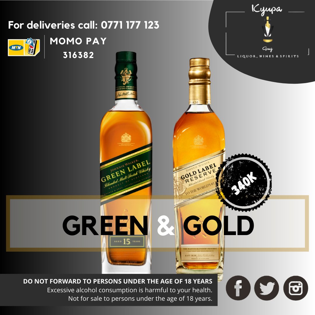 The finer things in life usually come in two colors; green and gold. With #KyupaGuy you can get both at an unbelievable price of UGX 340,000/-  For delivery call/whatsapp +256 771 177 123  Offer is valid until 1st Nov, 2020.  #kwataekyupa #tgif  #weekendvibes #liquor https://t.co/gyzsxmZG8T