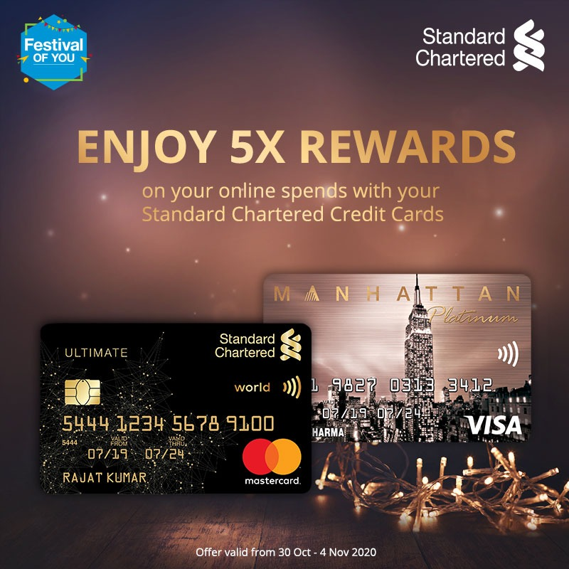 Make every wish come true this festive season with the Standard Chartered #FestivalofYou. Enjoy 5X rewards on all online spends with Standard Chartered credit cards. Offer valid from 30 Oct - 4 Nov 2020.  To Know more,   #Festiveseason #StandardChartered