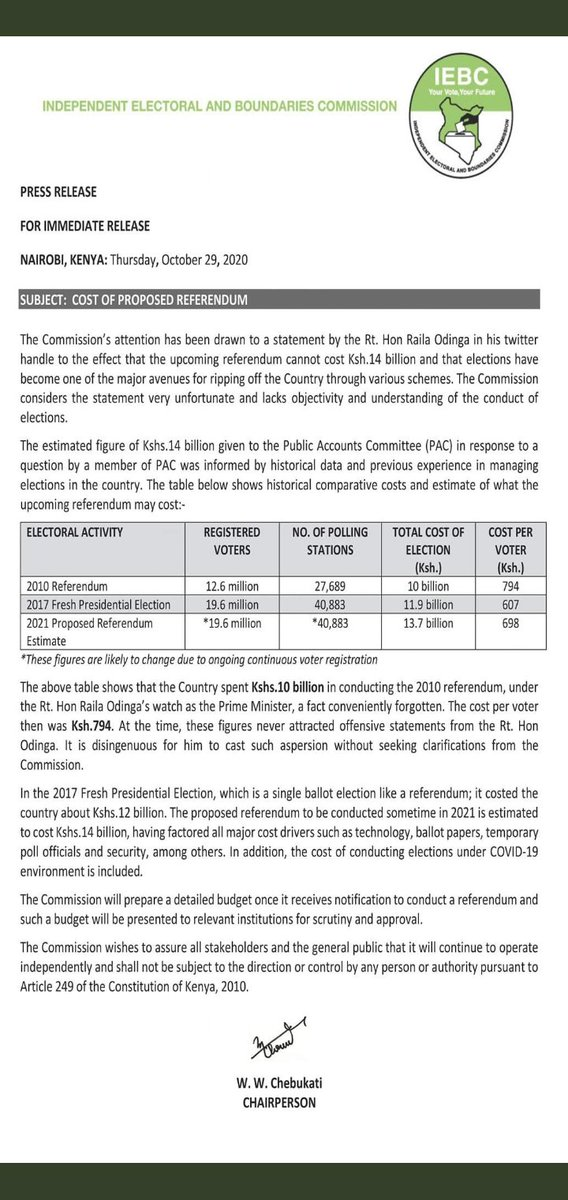 How can Raila Odinga criticize the IEBC yet the previous  referendum which took place under his premiership took over 10 Billion kenyan shillings...yet we have close to double number of registered voters from that time. #RejectBBI  #BBIFraud #WINWIN https://t.co/kpxeYSNBtu
