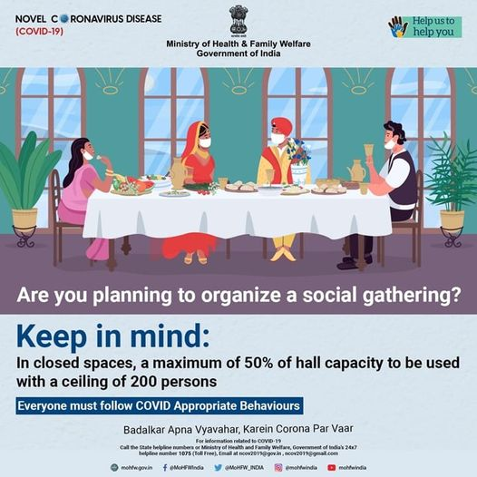 #IndiaFightsCorona:   Hold social gathering only if unavoidable. Stay connected with friends and family, online. Be safe.   #DoGajKiDooriMaskHaiZaruri #Unite2FightCorona https://t.co/PHbMNGRwEk