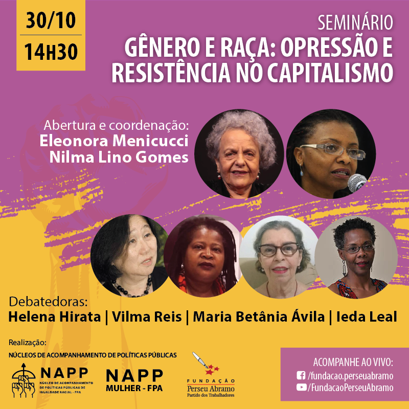 """Não perca! É hoje, às 14h30! Os Núcleos de Acompanhamento de Políticas Públicas (NAPPs) de Mulheres e Igualdade Racial da FPA realizam o seminário """"Gênero e Raça: opressão e resistência no capitalismo"""". Assista ao vivo em https://t.co/2oNzTzCW4s https://t.co/fJVyAwYsxj"""