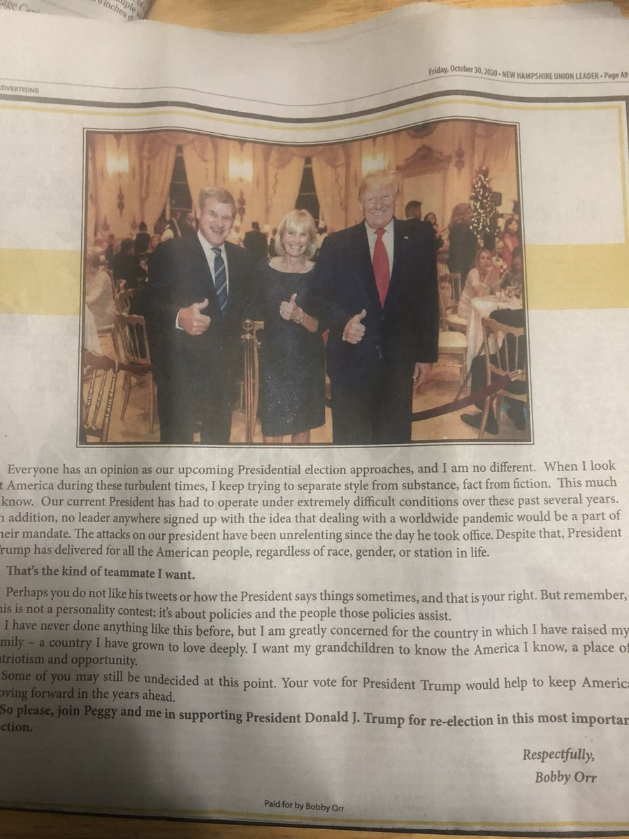 Bobby Orr personally placed an ad endorsing @realDonaldTrump in today's @UnionLeader. #nhpolitics https://t.co/sLw4y2VesG